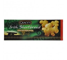 Would you like a delicious biscuit with coffee? Grace's Shamrock Shaped Shortbread Biscuits.