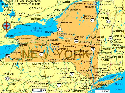 Map Of New York Capital Albany Became A State July 26 1788 Motto