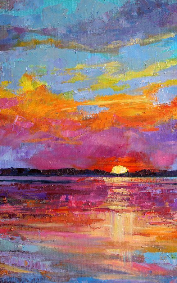 Set of 3 Sunset art shells bright purple blue yellow