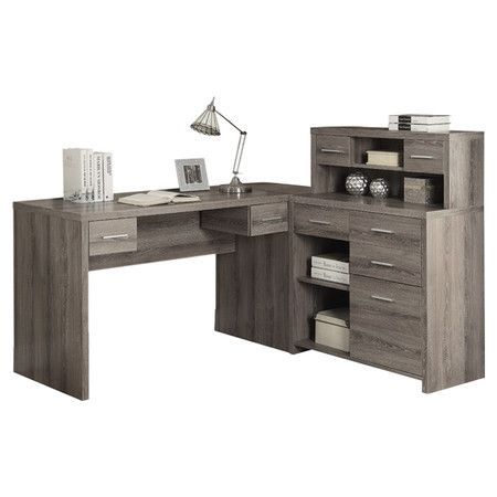 Add a contemporary touch to your home office with this sleek corner desk, showcasing ample storage and a complementing hutch.  Produ...