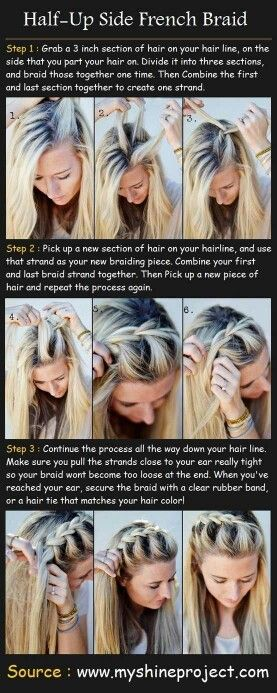 Half up, half down braided hairstyle! I saw this and thought it was really cute! Going to have to try this sometime!