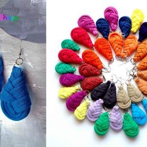 Textilfülbevaló - csepp alakú - petrolkék, Ékszer, óra, Fülbevaló, Ékszerkészítés, Újrahasznosított alapanyagból készült termékek, Meska