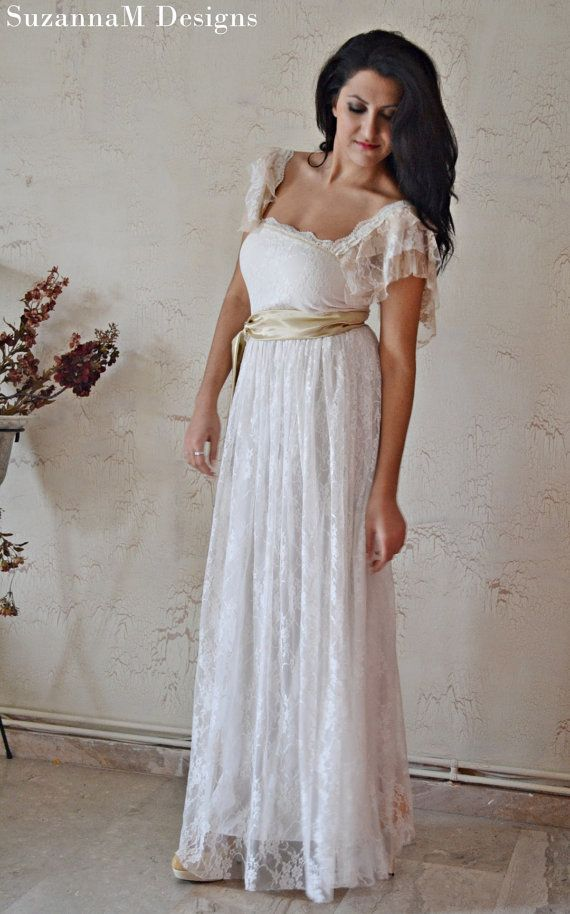Bridal gowns wedding dress bohemian wedding dress lace for Lace maxi wedding dress