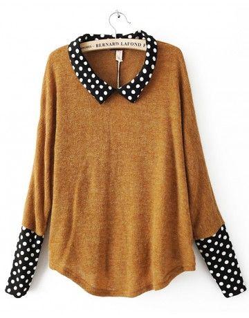 yellow acrylic polka dot long sleeve pullover