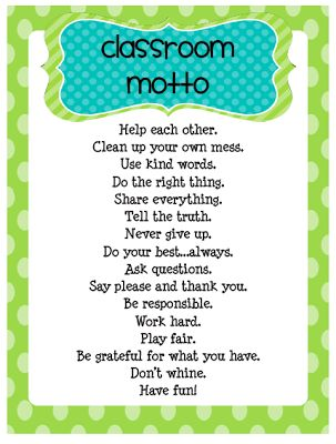 Funky First Grade Fun: Classroom Rules and Motto Freebie