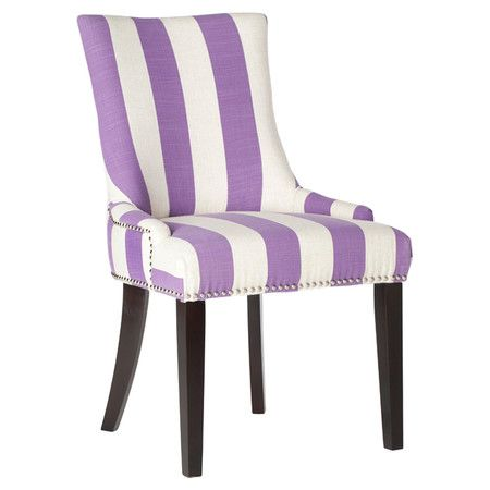 Add a pop of pattern to your dining table or writing desk with this chic side chair, showcasing lavender-hued striping and nailhead trim.   ...