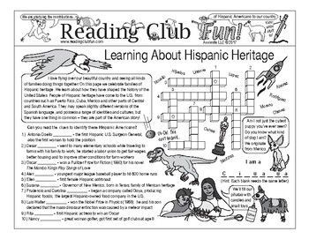 HISPANIC HERITAGE Set - includes:   • a 2-page activity set;  • From Many Countries word search with the names of countries from which Hispanic Americans have immigrated  • Borrowed Words word search with words of Spanish origin that  we use every day in the U.S.