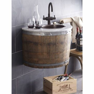 Wine barrel sink... For the magical backyard I will have a bazillion years from now