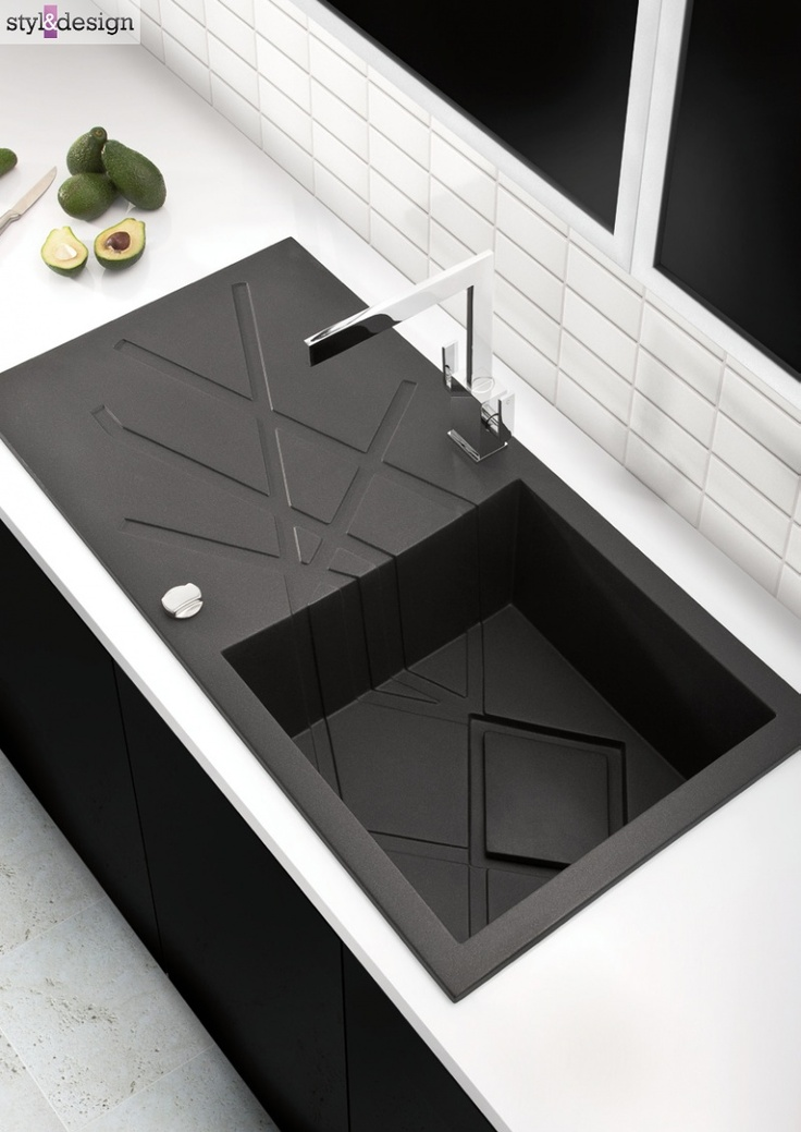 Modern black kitchen sink