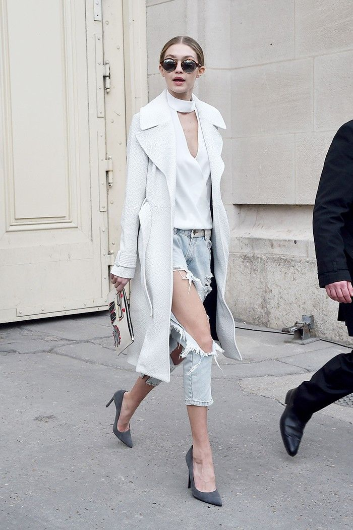 Gigi Hadid Just Took Distressed Boyfriend Jeans to Another Level via @WhoWhatWear