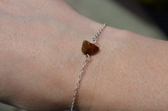 Tigers Eye Bracelet Dainty Silver Chain Bracelet Birthstone Jewelry Crystal…