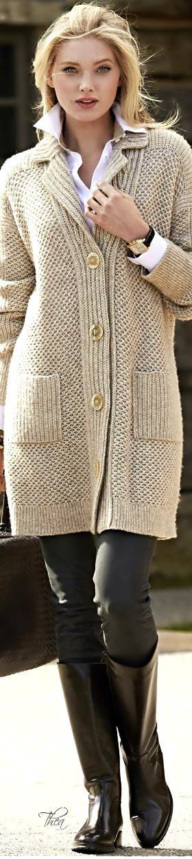 Elsa Hosk ~ Neutral Knit Long Sweater