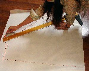 Drafting pattern for reversible wrap skirt - tutorial.