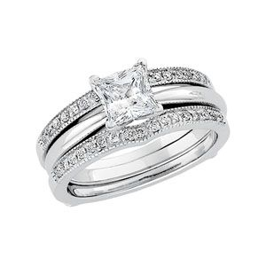 Princess-cut solitaire engagement ring with a diamond enhancer wedding band! If this was yellow gold it would be PERFECT!