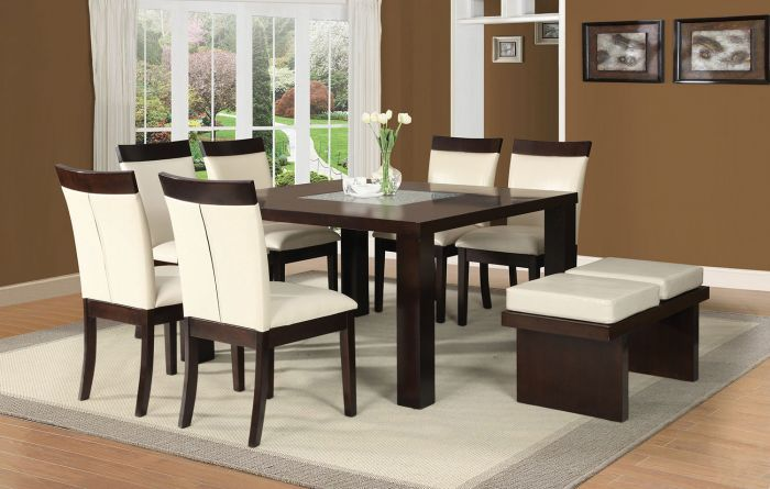 Acme 71035 Keelin 8pcs Espresso wood Square Dining Set with Bench