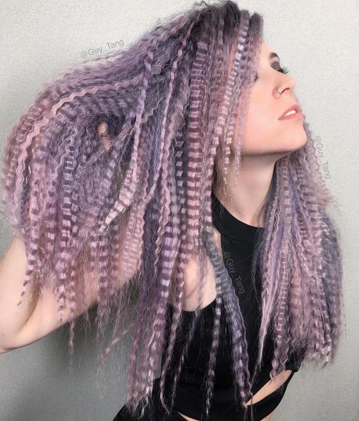Long Pastel Purple Crimped Hair