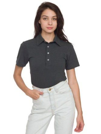 American Apparel Women's Unisex Cotton-Poly Piqu Short Sleeve Collared Shirt X-Small-Asphalt American Apparel. $32.00