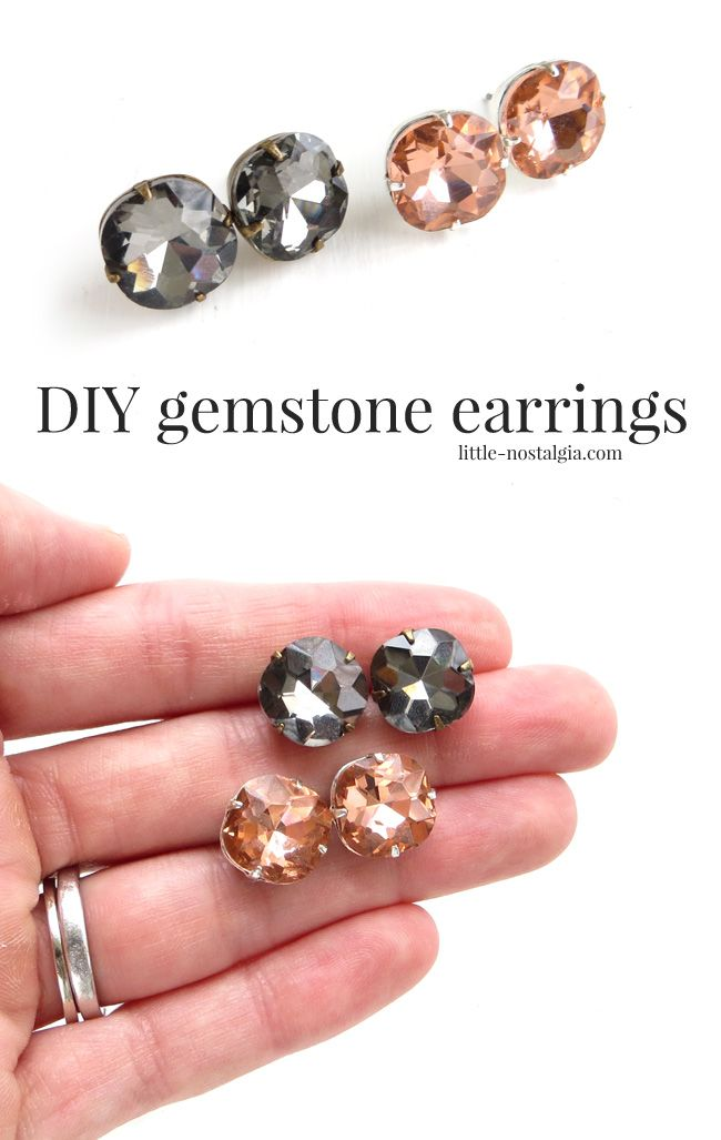 DIY Gemstone Earrings - These are a great Kate Spade knockoff you can make for the holidays! Very easy.