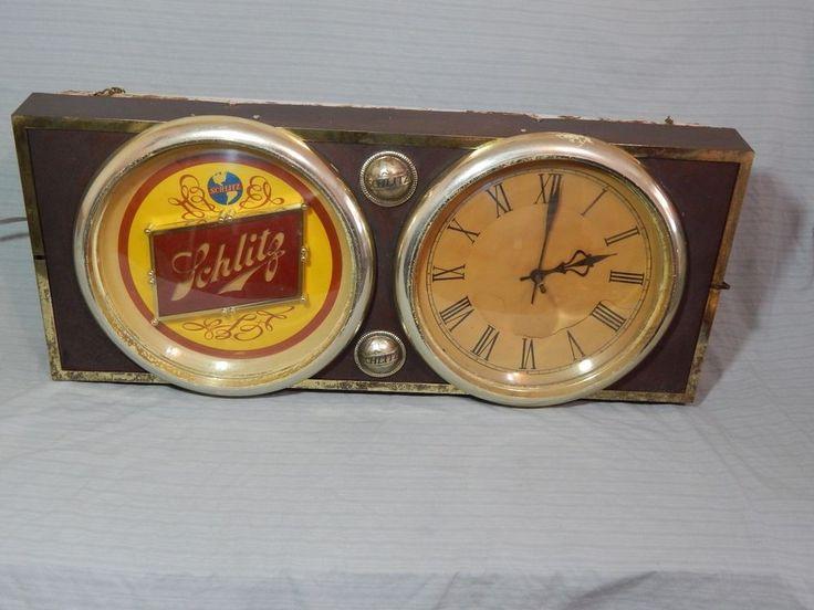 Vintage Schlitz Beer Lighted Sign Clock 36x15 Schlitz