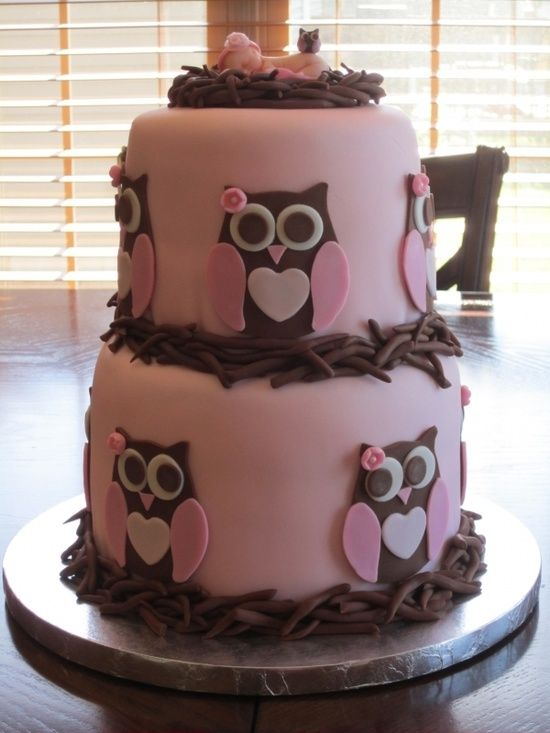 very cute owl cake, but would leave off the baby on top -- maybe a 3d owl in the nest!