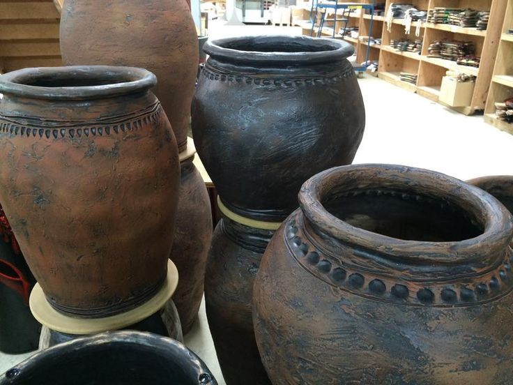 Distinctively primal pots with finishes similar to metal, waiting for their new home :)  www.morrisandjames.co.nz
