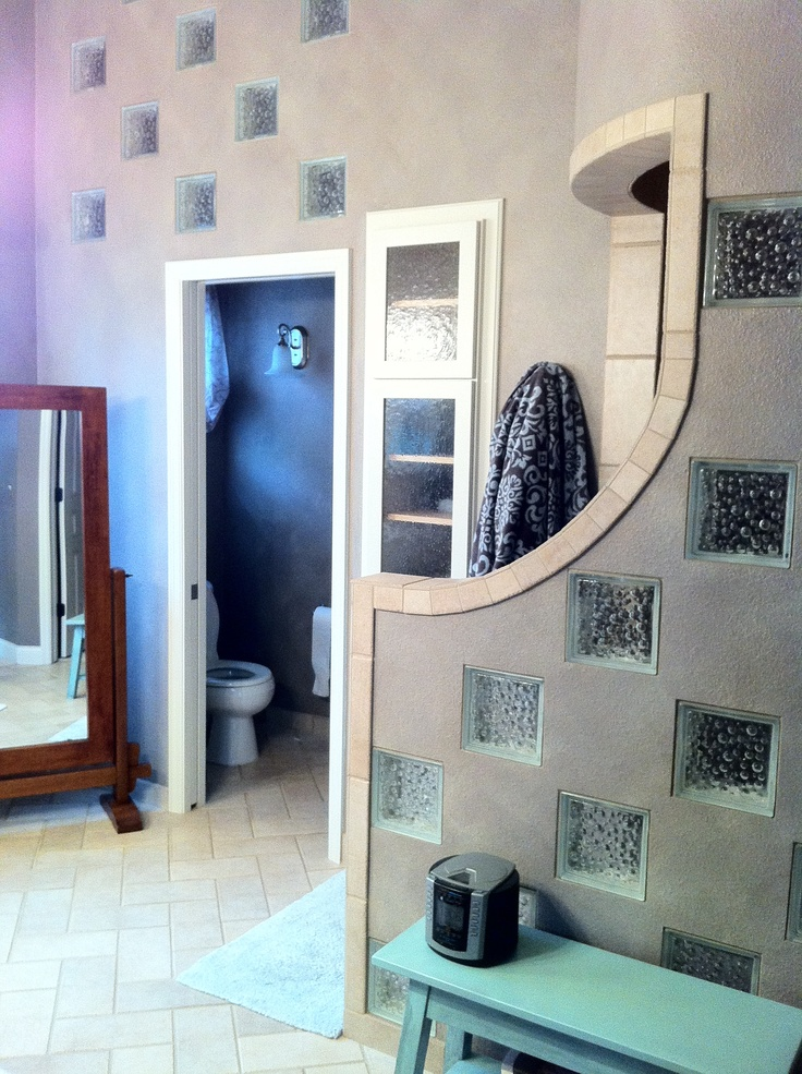 glass block bathroom with walk in shower