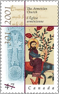 CP - 2001 -Armenian Church: When Armenia adopted Christianity as its state religion in 301 AD, it became the first nation in the world to do so. The year 2001 marks the 1,700th anniversary of the Armenian Apostolic Church. A single commemorative stamp, designed by Debbie Adams, features elements important to the Armenian Church: a Khachkar (cross stone), an image of Christ, and detail from ancient text. The stamp was issued on May 16, 2001, in Toronto, Ontario.