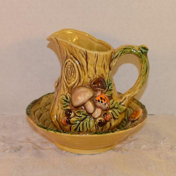 Lefton Mushroom Ceramic Pitcher & Bowl by ShellysSelectSalvage