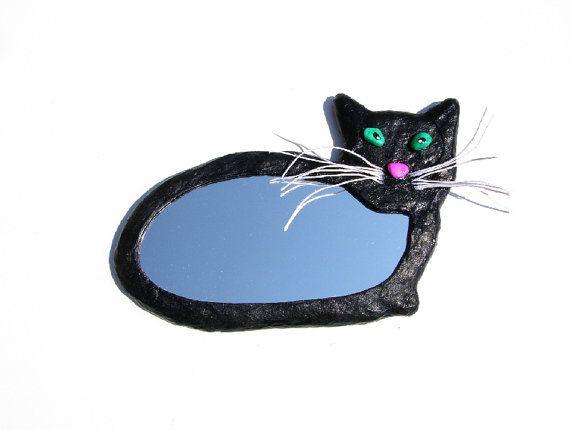 Decoratieve wand spiegel, spiegel van de zwarte kat met beweegbare hennep touw snorharen muur opknoping, kleine ovale spiegel, kat minnaar decoratie