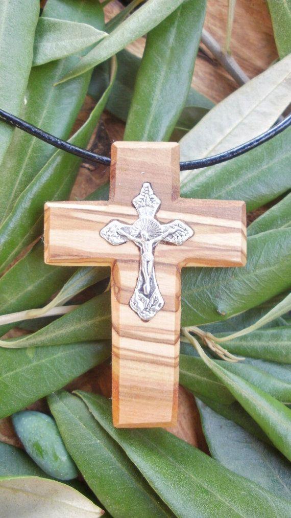 Hand carved Greek Olive Wood cross pendant by ellenisworkshop