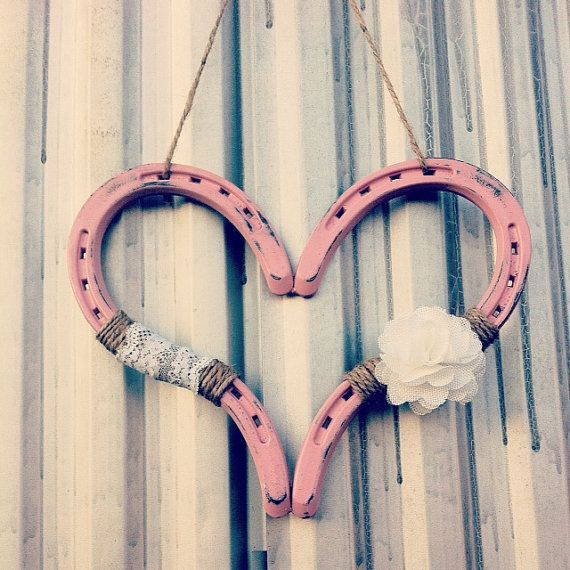 Hey, I found this really awesome Etsy listing at https://www.etsy.com/listing/180834330/distressed-pink-rustic-horseshoe-heart