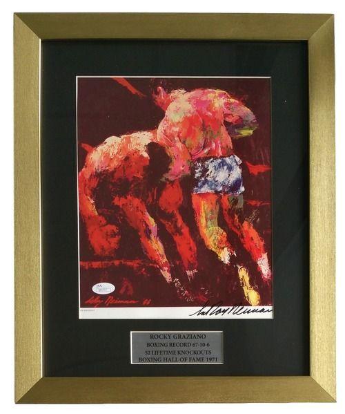 Leroy Neiman Signed Framed Rocky Graziano 14x17 Boxing Print JSA