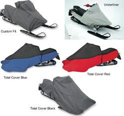Snowmobile cover for Polaris Indy 600 Pro X 2003 to 2004 snowmobiles. Choice of covers include the custom fit, the total cover in red, blue and black and the underliner.