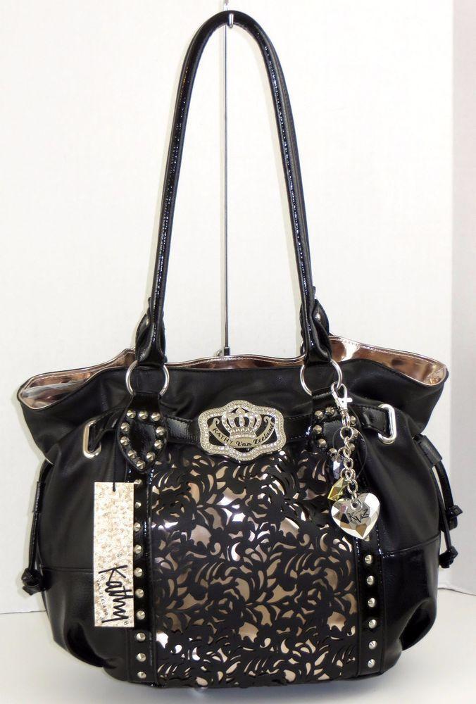 Kathy Van Zeeland Handbag Bag Purse Black Lazer Up Shopper with Keychain #KathyVanZeeland #TotesShoppers