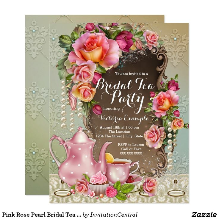 zazzle wedding invitations promo code%0A Pink Rose Pearl Bridal Tea Party Card