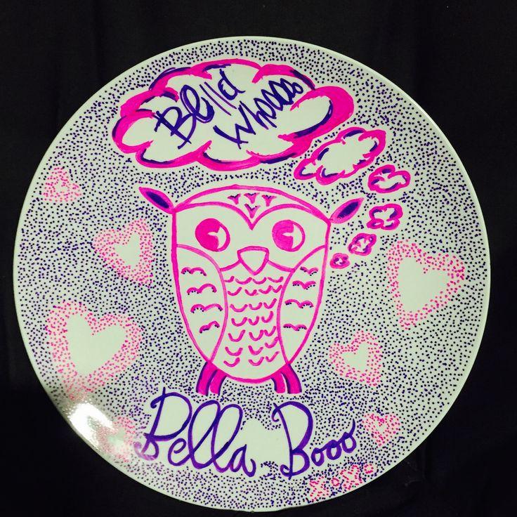 Owl sharpie plate