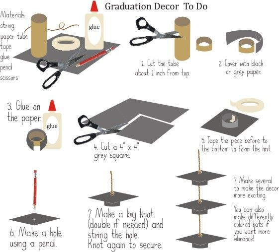 Graduation Table Centerpieces | DIY Graduation Decor Enjoy your success by having a party! Decoration ...