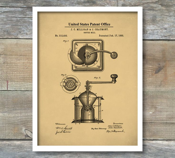 the grinder poster. patent poster, coffee grinder print, decor, kitchen restaurant the poster