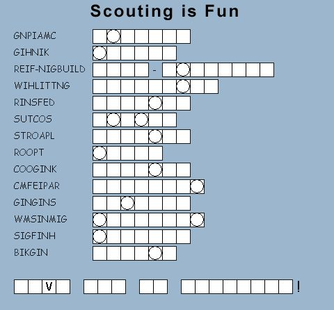 Webelos Puzzles And Fun Activities Camping Cub Scouts
