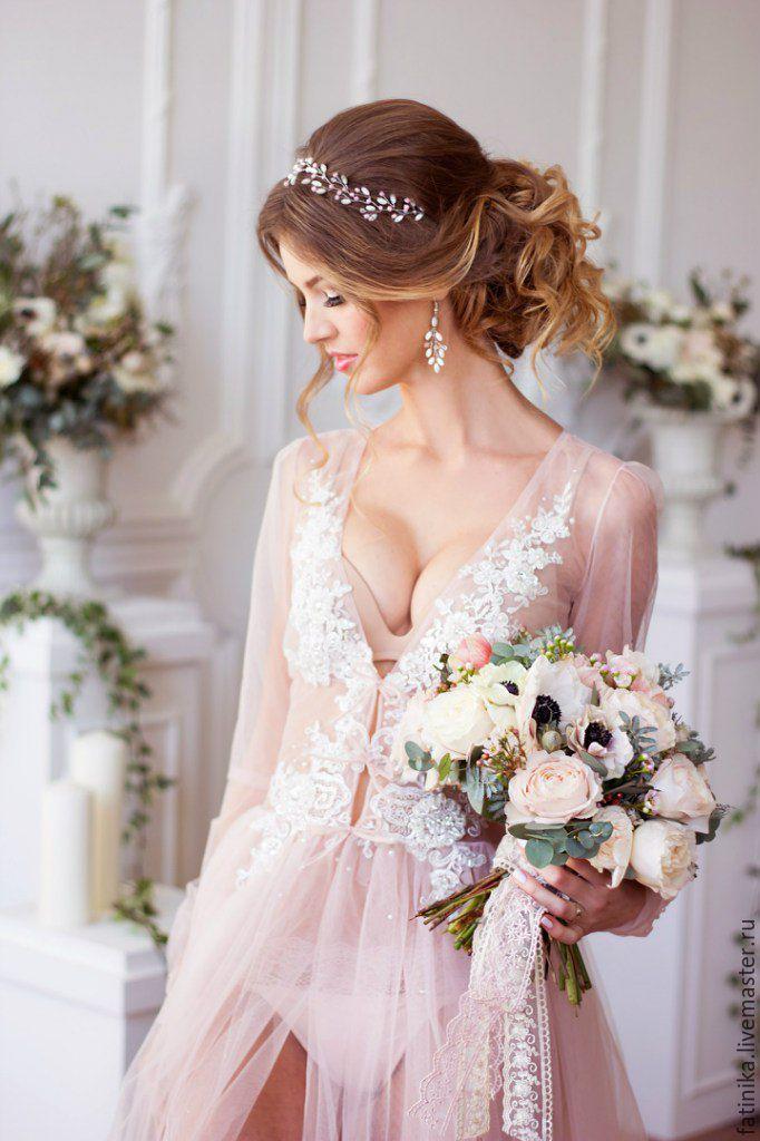 Свадебный венок из перламутра с розовым / свадебное украшение прически - белый, украшение для невесты