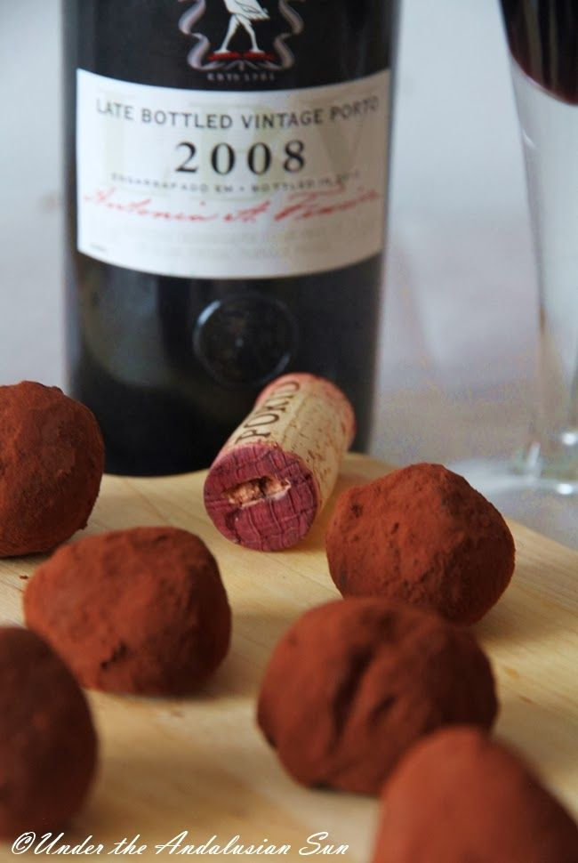 Chocolate and port wine truffles
