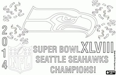 Seattle Seahawks, Super Bowl 2014 Champions coloring page