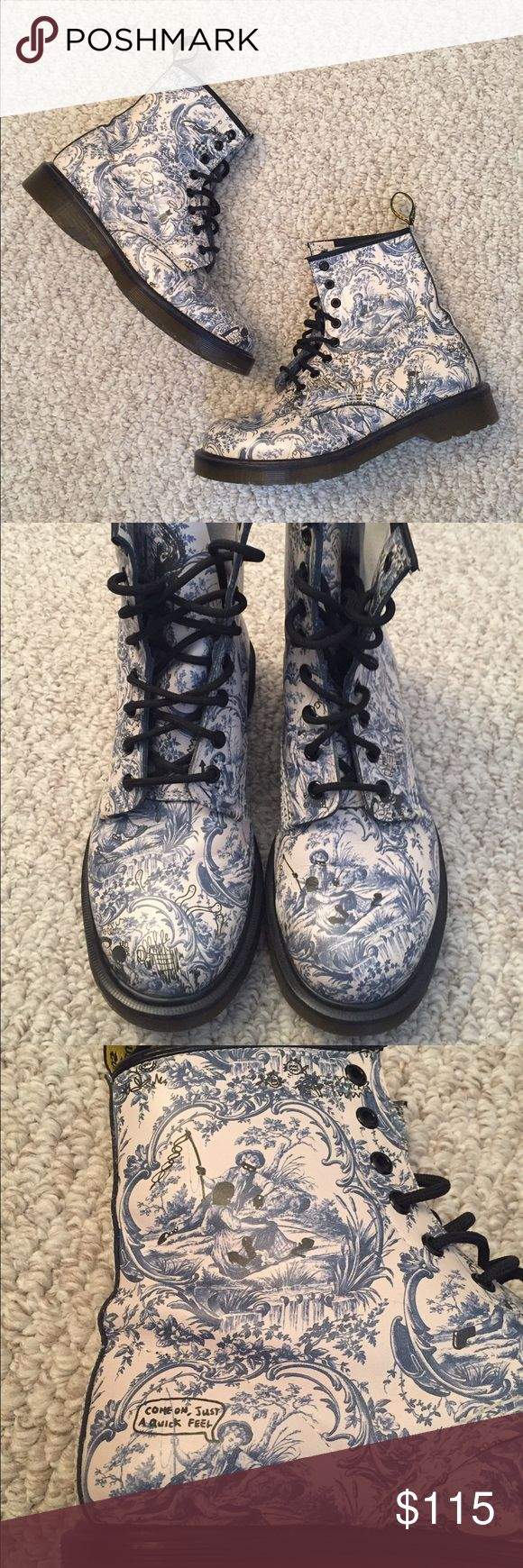 Dr Martens Jouy Vandalized Blue White Boots Dr Martens Jouy Vandalized design in blue and white. Women's size 9 US. Light scuff to the toe, blends with the design, hardly worn. Smoke and pet free home. No trades. Dr. Martens Shoes Combat & Moto Boots