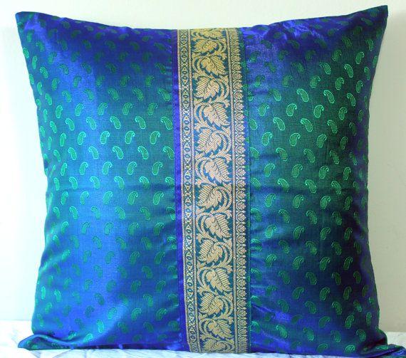 Indian Sari Pillow Sari Cushion Cover Silk Pillows Green & Blue Pillow Emerald Green Royal Blue Gold Shimmer Unique Vintage Inspired 16x16