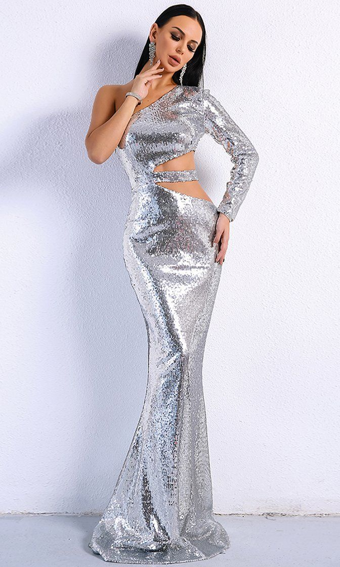 ece85b7360 Wild Ways Silver Sequin One Shoulder Long Sleeve Cut Out Side Maxi Dress  Evening Gown