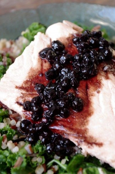 Simple Broth Poached Salmon with Blueberry Balsamic Reduction (GF)