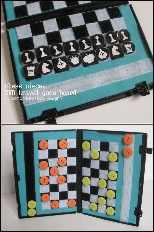rainbowsandunicornscrafts:    DIY Recycled DVD Case Travel Chess Game. Stacy uses her Velcro game board she used in her checkers tutorial here and has added a free PDF download of the chess images. Tutorial and PDF downlad from Handmade By Stacy Vaughn here.
