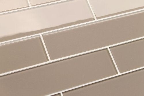 sample of sand brown 3 x 6 glass subway tile for kitchen