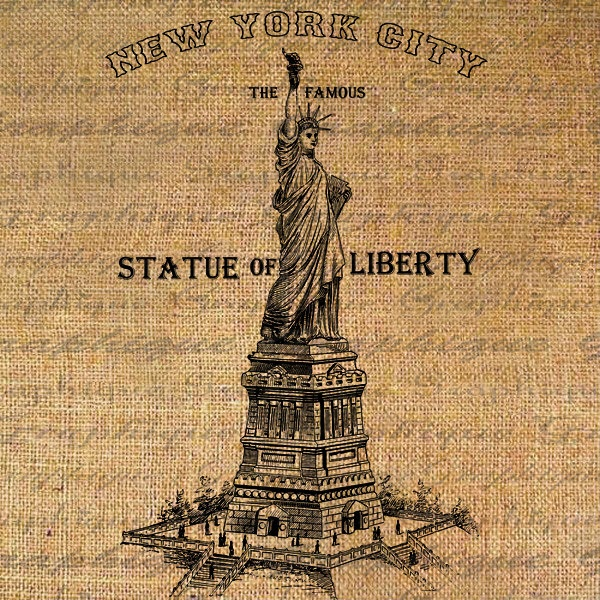 Digital Collage Sheet Download Sheet Burlap Fabric Transfer STATUE of LIBERTY New York NYC Text Iron On Pillows Totes Tea Towels 2830. $1.00, via Etsy.
