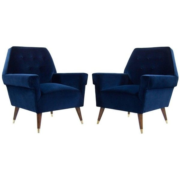 Italian Navy Blue Velvet Lounge Chairs With Splayed Legs ($7,800) ❤ Liked  On Polyvore Featuring Home, Furniture, Chairs, Accent Chairs, Navy Blue  Chair, ...